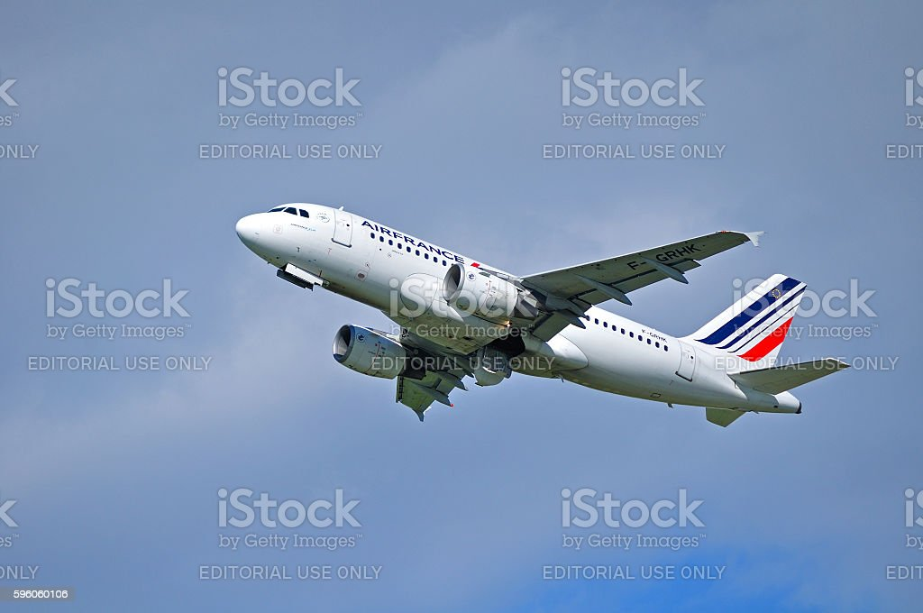 Air France Airbus A319 aircraft is flying in the sky royalty-free stock photo
