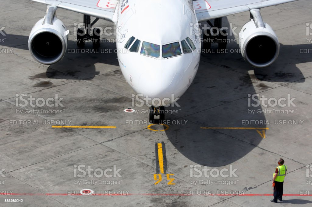 Air France Airbus A320 at Sheremetyevo international airport. stock photo