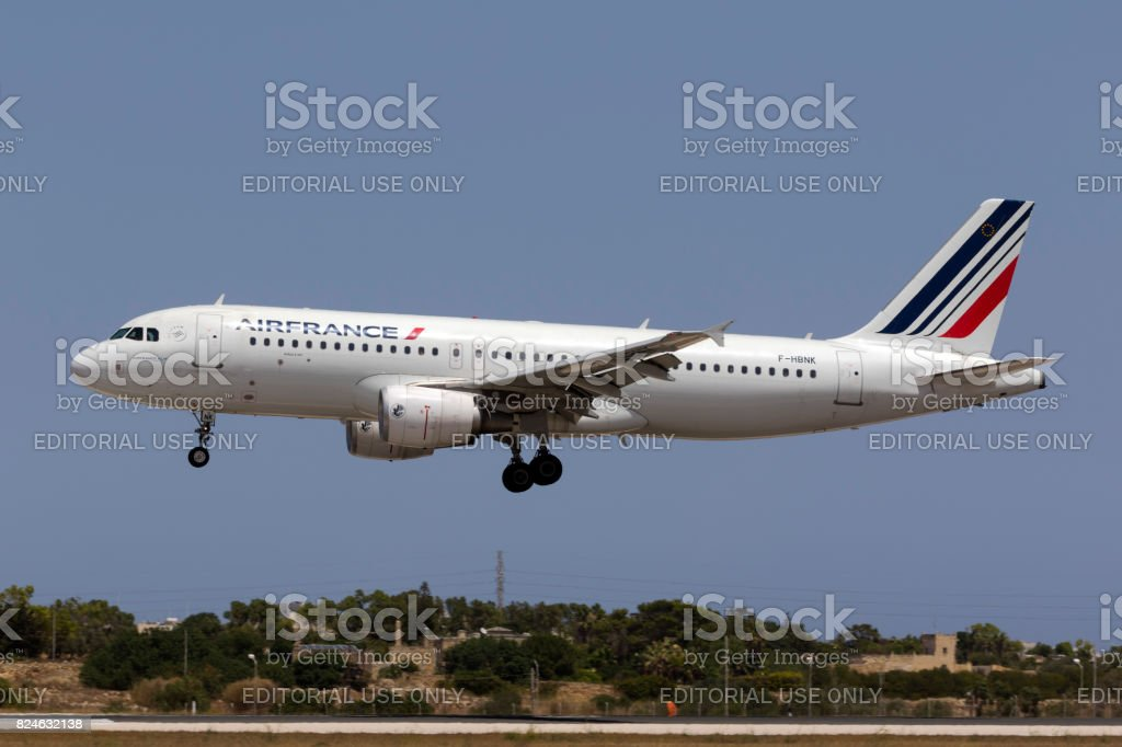 Air France Airbus on final approach stock photo