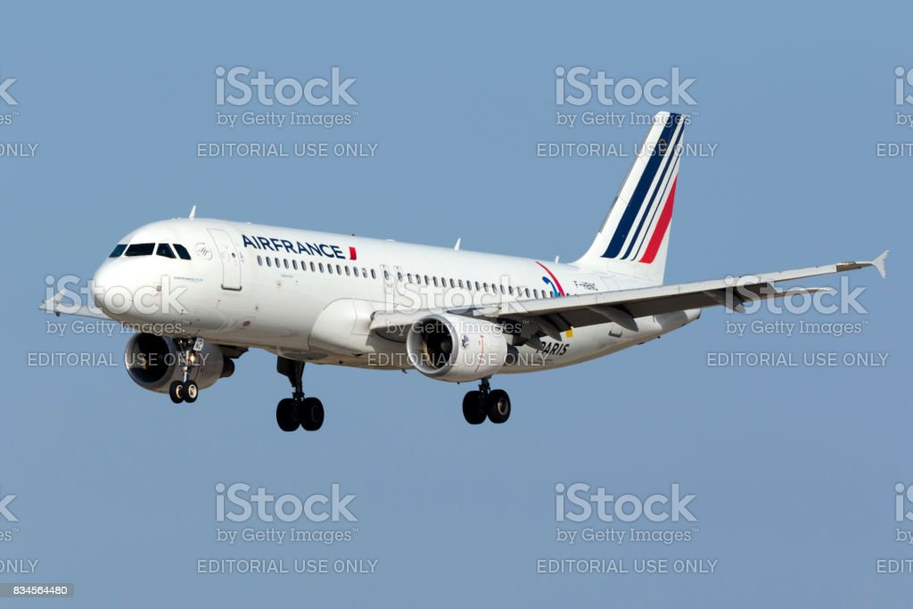 Air France Airbus with 'Paris 2024' sticker stock photo