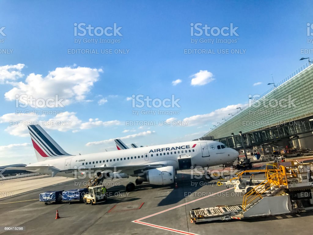 Air France Airplane at Charles de Gaulle Airport, Paris, France