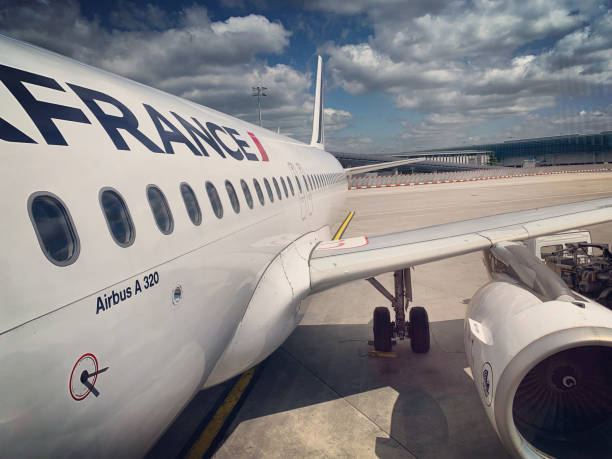 Air France airplane parked at Roissy Charles de Gaulle Airport, Paris stock photo