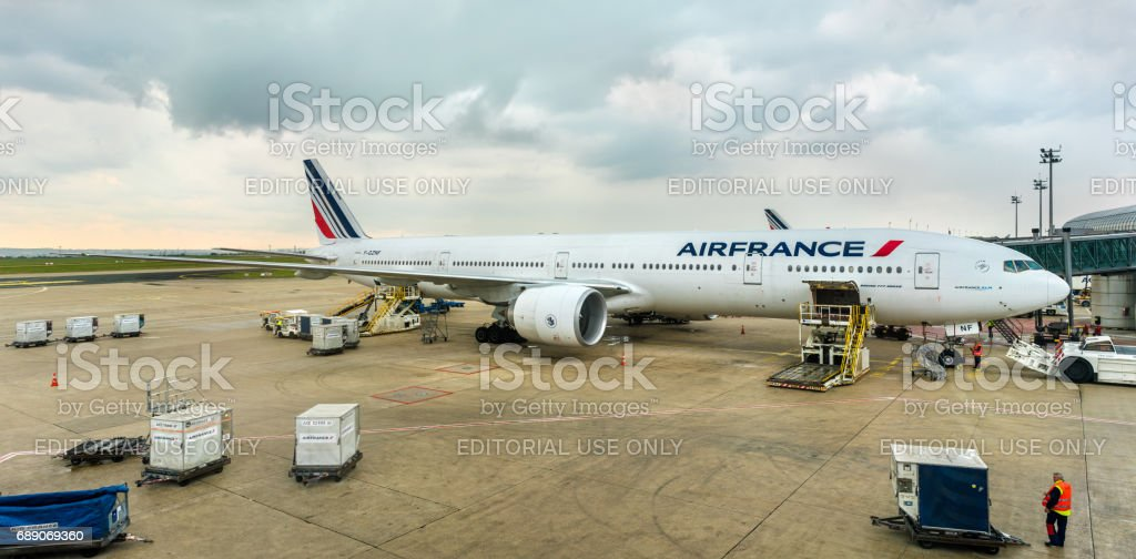 Air France Boeing 777-300ER at Charles de Gaulle Airport, France stock photo
