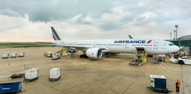 Air France Boeing 777-300ER at Charles de Gaulle Airport, France Paris, France - April 28, 2017: Air France Boeing 777-300ER at Charles de Gaulle Airport. Air France was the launch customer of Boeing 777-300ER val d'oise stock pictures, royalty-free photos & images