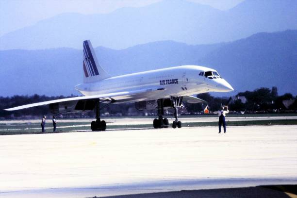 Air France Concorde in Klagenfurt 1984 a rare visit of an Air France Concorde to the provincial airport in Klagenfurt Austria during an air show festival in 1984 supersonic airplane stock pictures, royalty-free photos & images