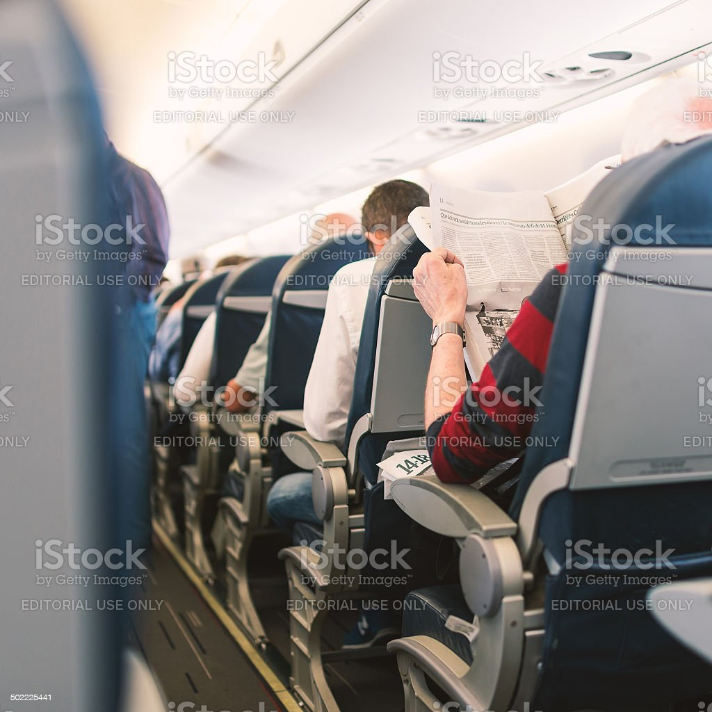 Air France Jet airplanes interior. stock photo