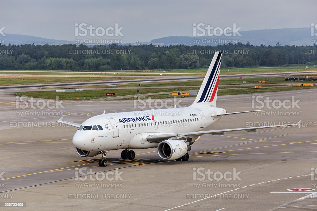 Air France KLM Airbus A318 in the Zurich Airport stock photo