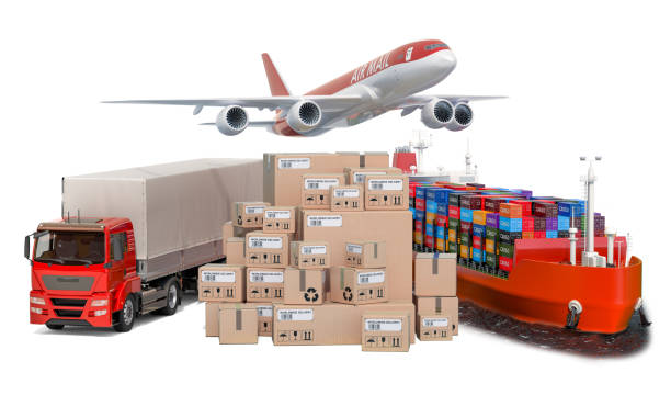Air freight, cargo shipping  and freight transportation, delivery concept. 3D rendering stock photo