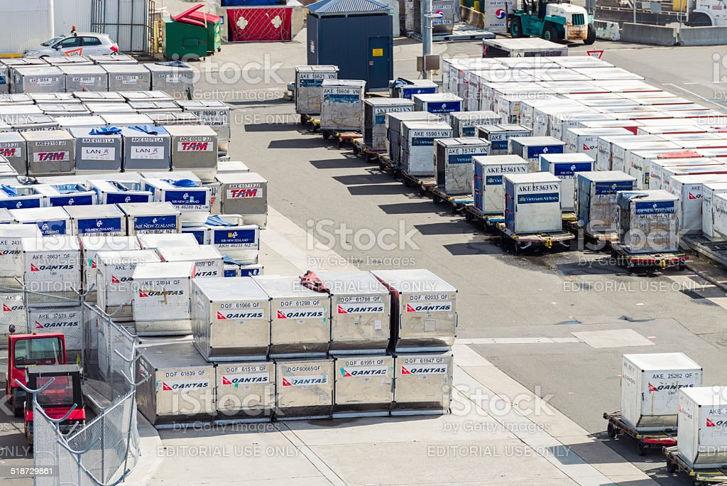 Air freight containers ready stock photo