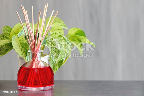 Air freshener, red fruits perfume diffuser and green plant (Scindapsus Aureus, Pothos) in background, shot with copy space on blurred wooden background.