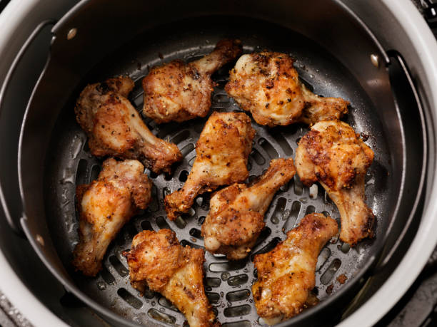 Air Fried, Crispy Chicken Wings stock photo