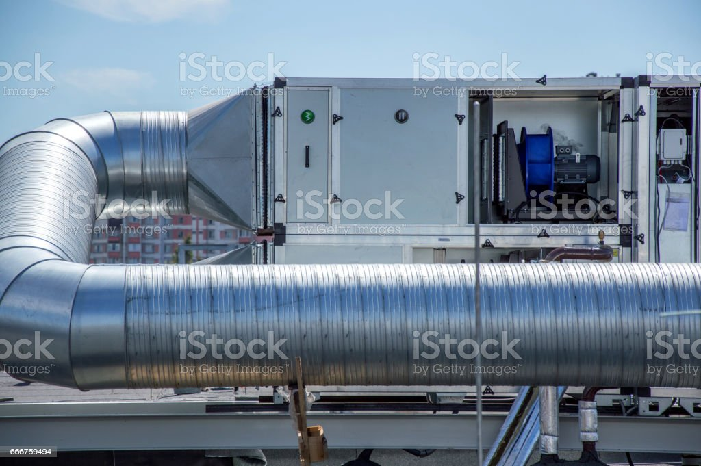 Air Handling Unit for the central ventilation system on the roof of the mall stock photo