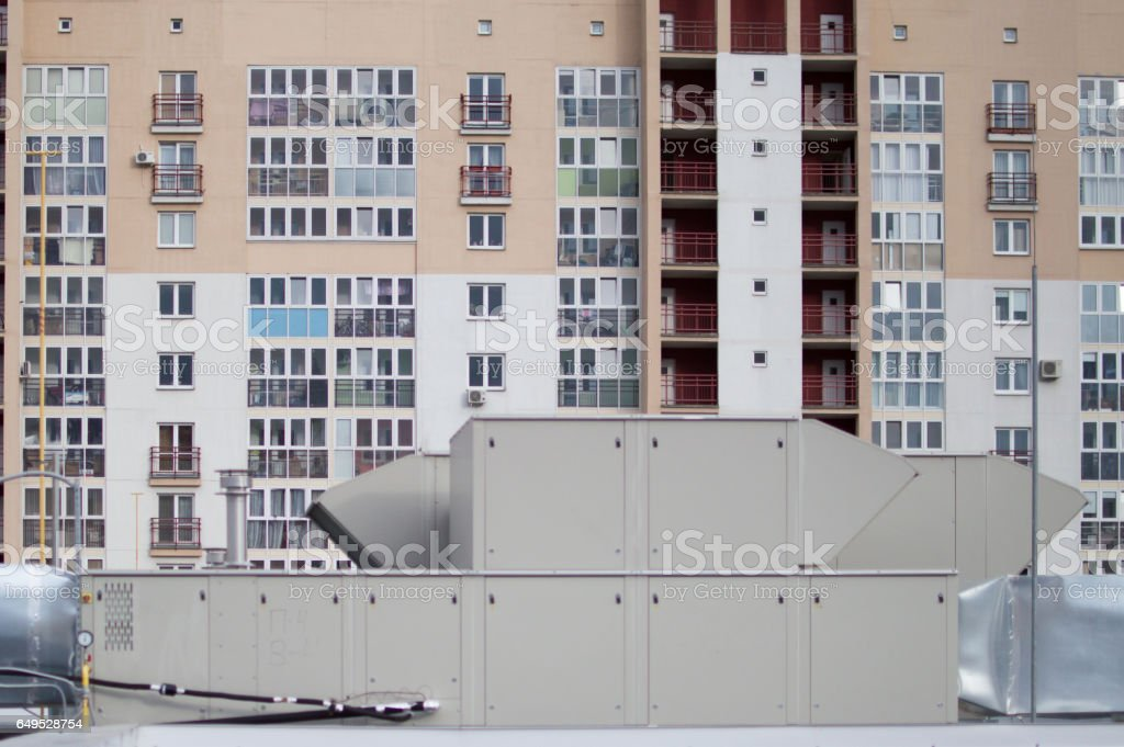 Air Handling Unit (rooftop) for the central ventilation system stock photo