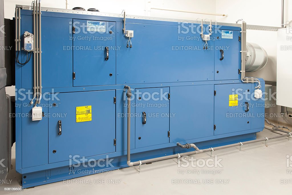 Air handling unit in the cellar of an office building stock photo