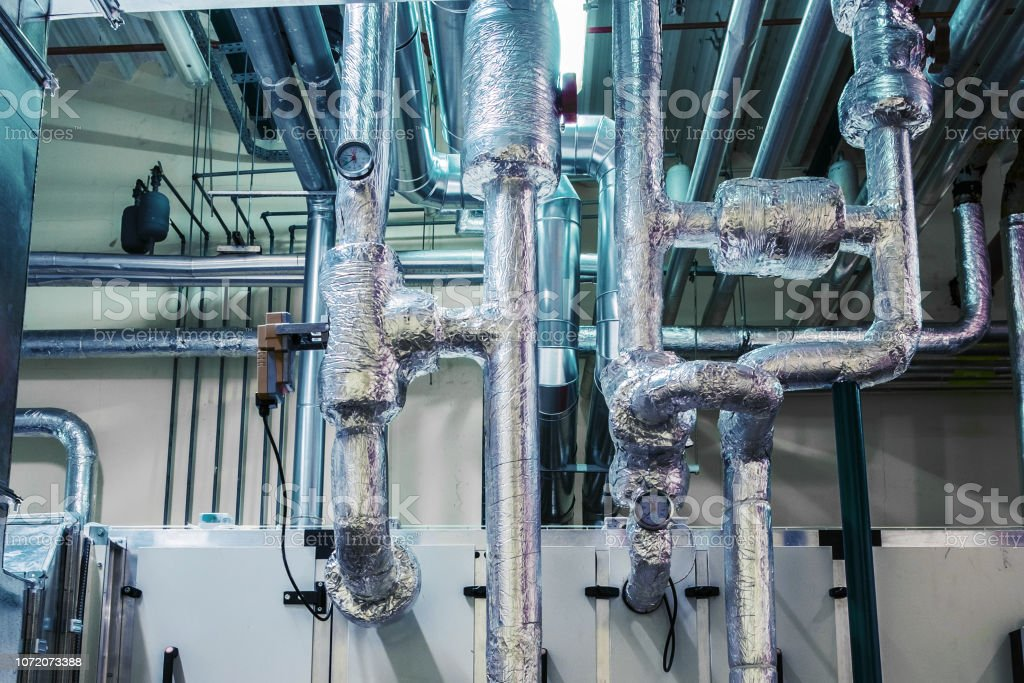 air handling unit, industrial ventilation, air conditioner, commercial, insulation, pipeline stock photo