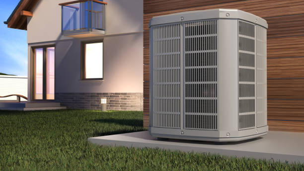Air heat pump and house, 3D illustration stock photo