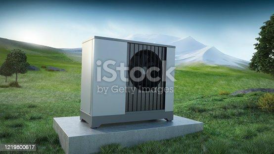 heat pump - ecology concept, 3D illustration