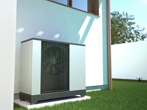 Air Heat Pump Beside House 3d Illustration - zdjęcia stockowe i więcej obrazów Architektura