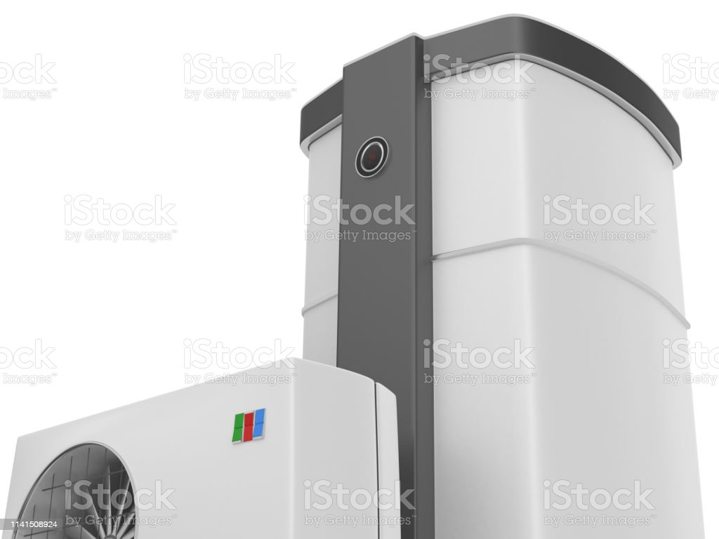 3d render. Air heat pump isolated on white background.