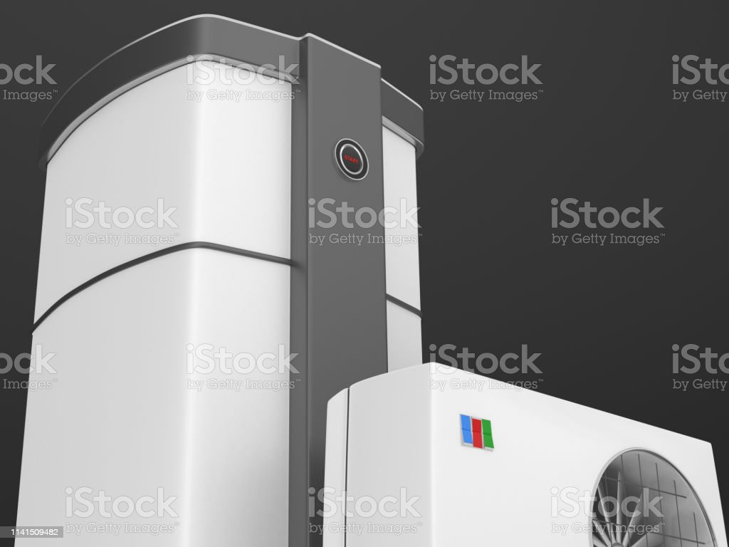 3d render. Air heat pump isolated on black background.