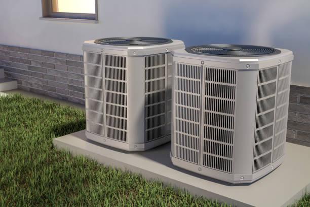 bombas de calor de aire y casa, ilustración 3d - calor fotografías e imágenes de stock
