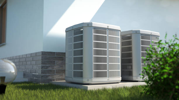 Air heat pumps beside house alternative energy concept - 3D illustration apparatus stock pictures, royalty-free photos & images