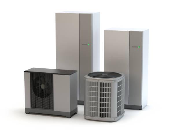 Luftwärmepumpen-System, weißer Hintergrund – Foto