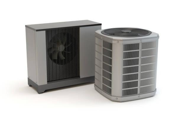 lucht warmtepompen, witte achtergrond - airconditioning stockfoto's en -beelden