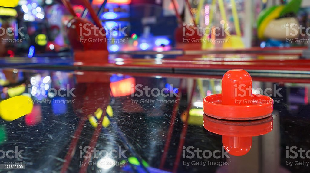 air hockey table with light stock photo