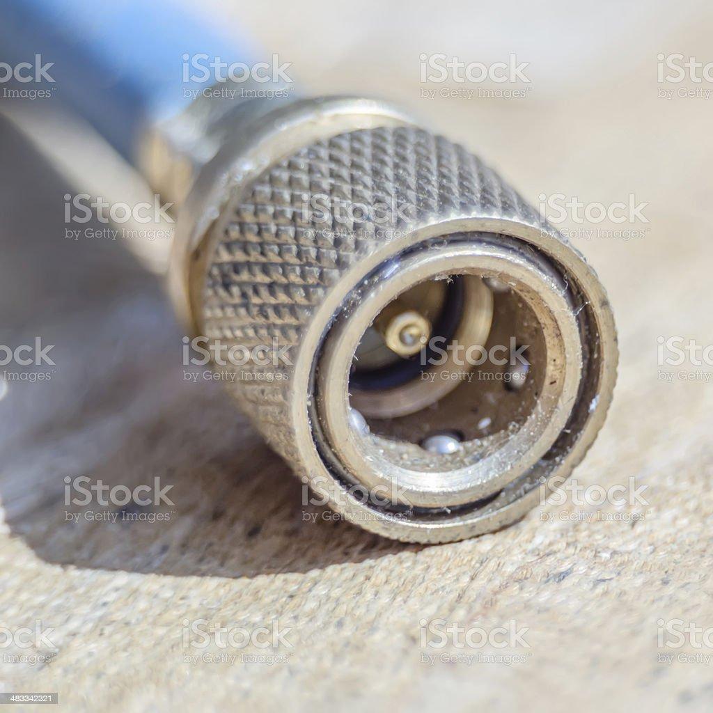 air hose connector closeup stock photo