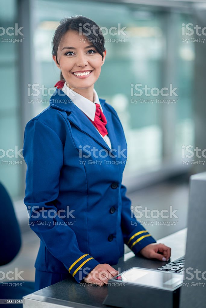 Air hostess stock photo