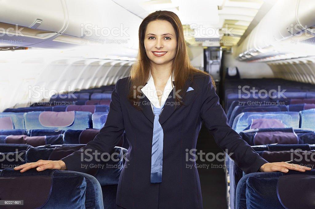 Air hostess (stewardess) stock photo