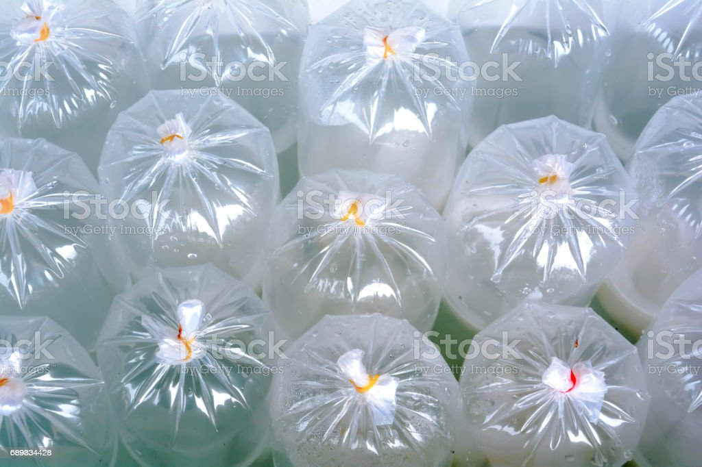 air in plastic bag bundle Plastic band stock photo
