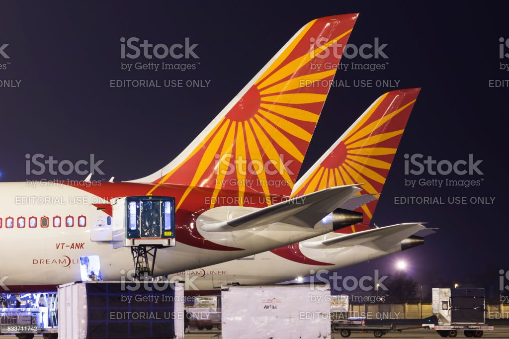 Air India Boeing 787 Dreamliner tail line up at Delhi Airport stock photo