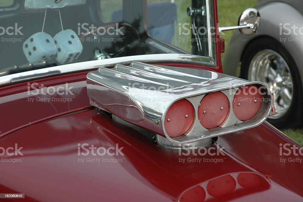 Air Intake on a Classic Red Street Rod stock photo