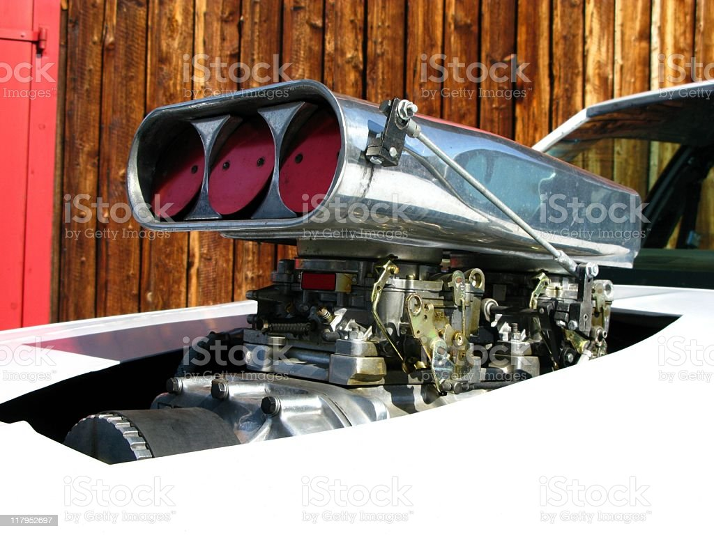 Air intake on a classic street rod royalty-free stock photo