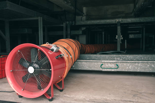 Air line Red blower flow air for confined space work in factory confined space stock pictures, royalty-free photos & images