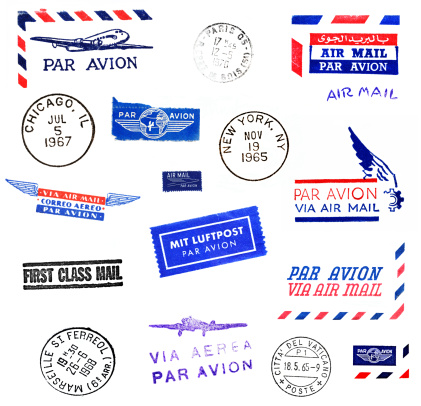 This is a package of a variety of Air Mail stamps and stickers, as well as circular postmarks from various world cities.  Air mail stamps are in French, Spanish, English, German, Italian and Arabic. City postmarks are from Paris, NYC, Chicago, Marseilles and Vatican City, dated 1965 through 1970.  All marks are from authentic mail correspondence photographed in macro detail.  All clean on white background, easy to add to your designs.