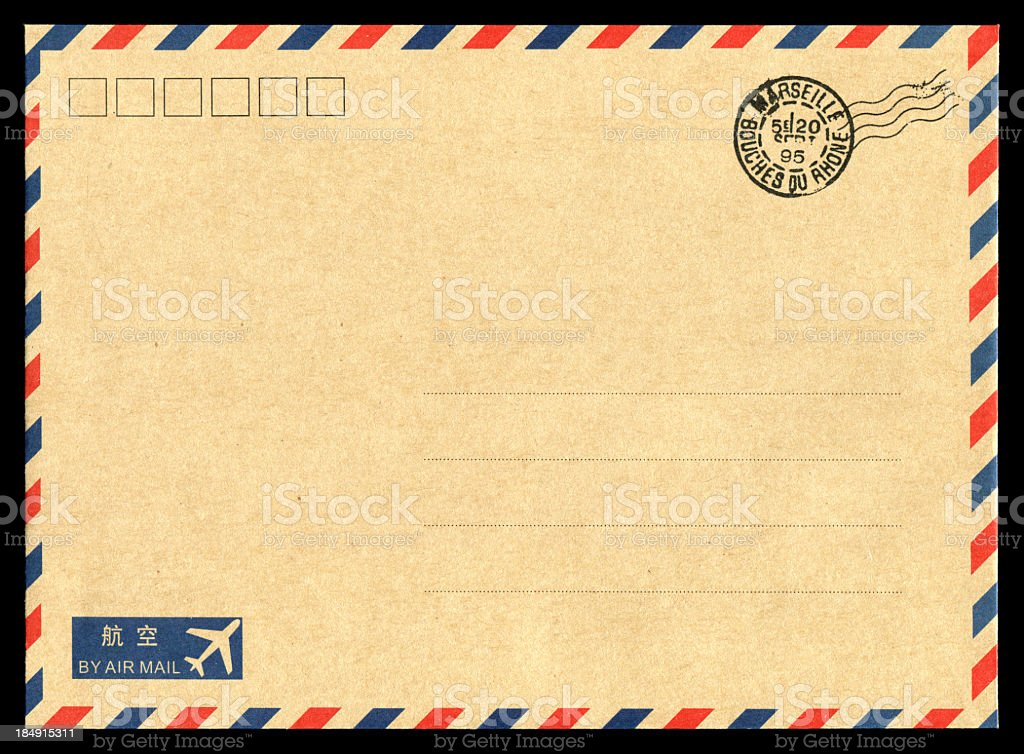Air mail envelope background stock photo