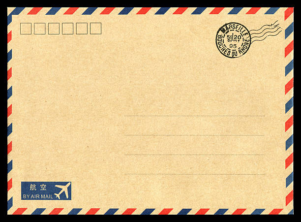 air mail envelope background - rubber stamp texture stock photos and pictures