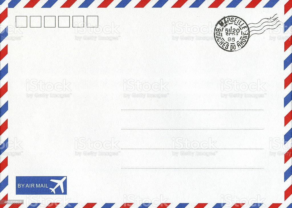 Air mail envelope background textured stock photo