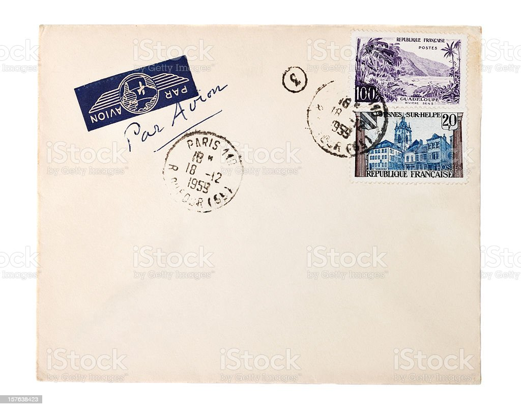 Air mail envelope with 1959 Paris postmark and French stamps stock photo