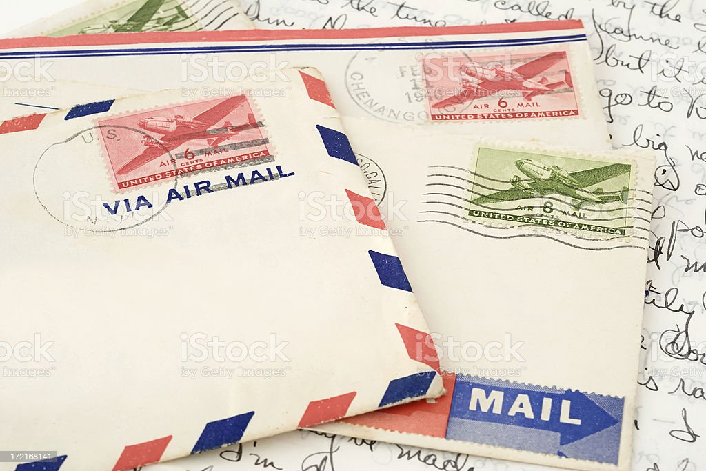 Air Mail Envelopes & Stamps royalty-free stock photo