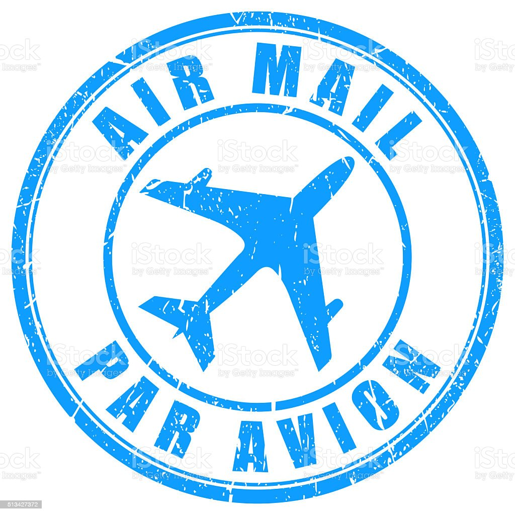Air mail stamp stock photo