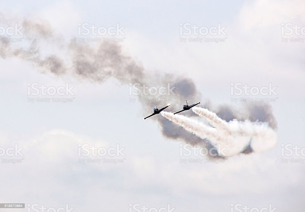 Air military flight demonstration stock photo