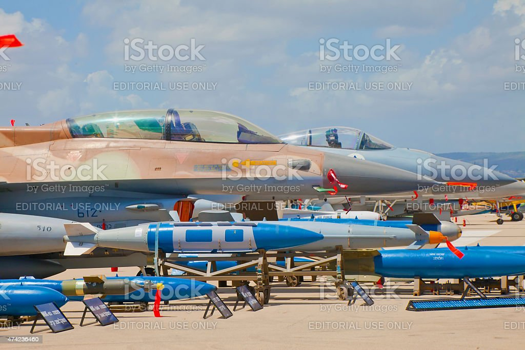 Air missiles at airforce exhibition for Israeli Independence Day stock photo