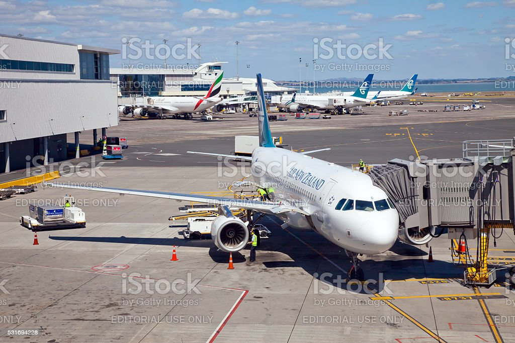 Air New Zealand Airbus A320 Parked at Auckland International Airport stock photo