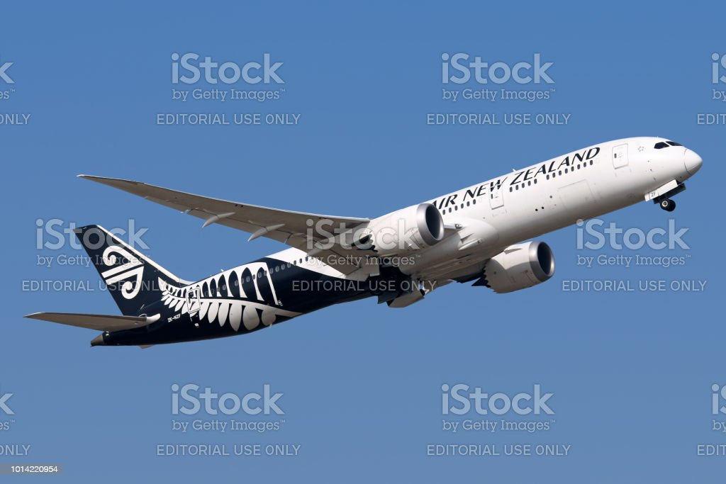 Air New Zealand aircraft take-off stock photo
