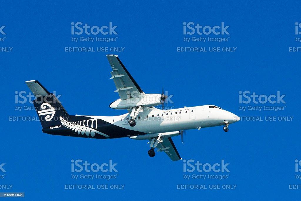 Air New Zealand airplane over Wellington, New Zealand stock photo