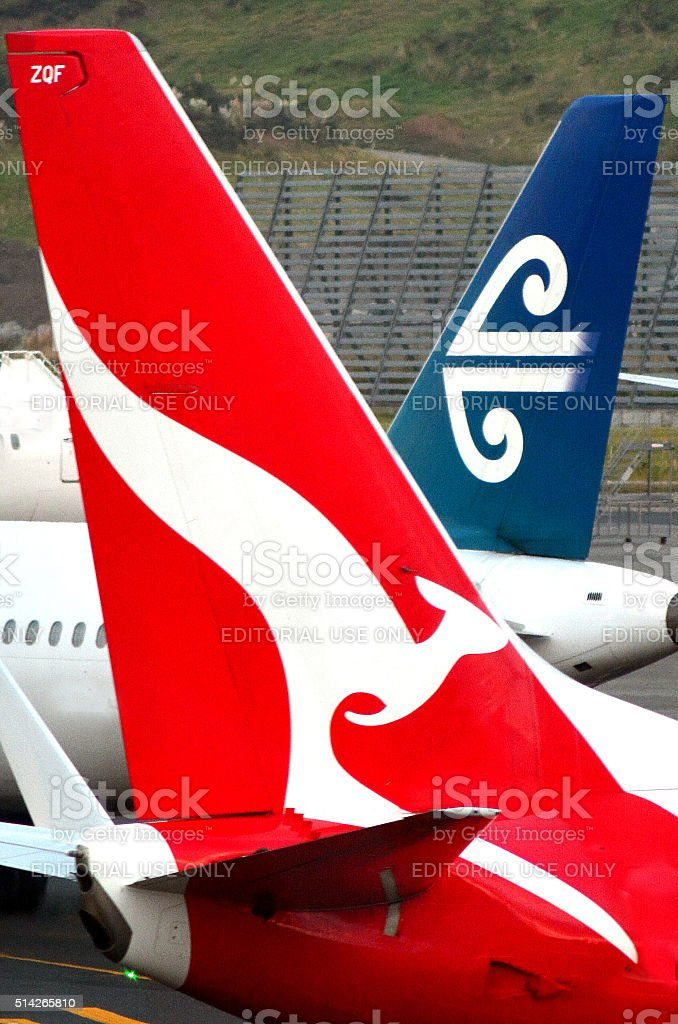 Air New Zealand and Qantas stock photo